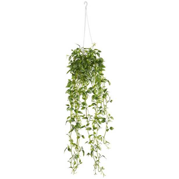 Green Variegated Wandering Jew Hanging Basket Artificial Plant - Home Depot