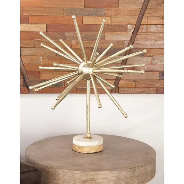 Abstract Starburst Aluminum Sculpture with Wood and Marble Base, Gold - Home Depot