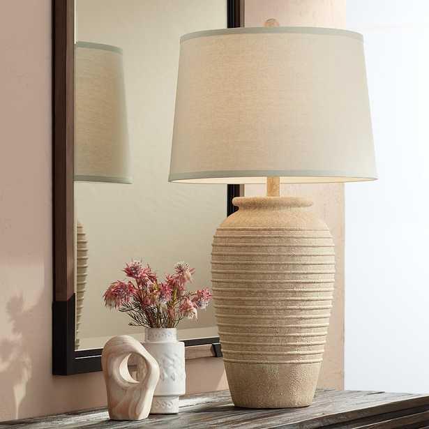 Austin Sand Toned Ridged Southwest Rustic Jug Table Lamp - Lamps Plus