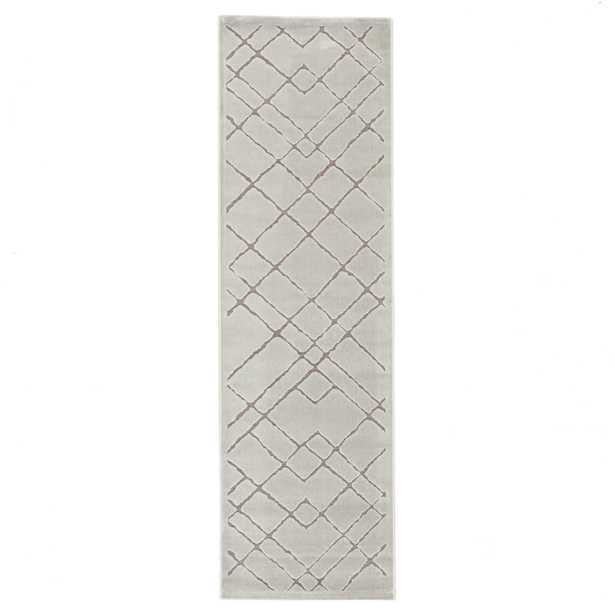 "Caldwell Geometric White/ Gray Runner Rug (2'6""X8') - Collective Weavers"