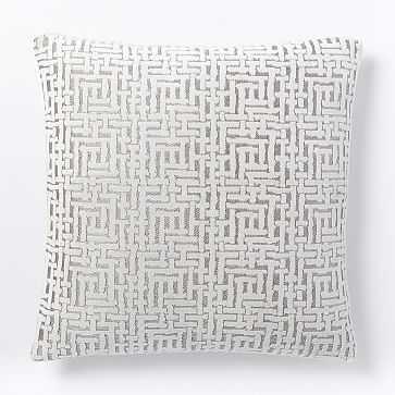 """Allover Crosshatch Jacquard Velvet Pillow Cover, 20""""x20"""", Stone White - West Elm"""