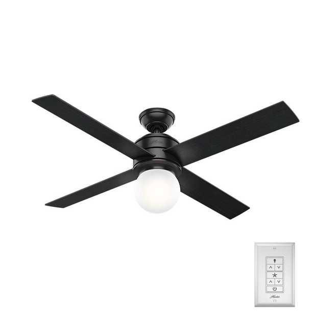 Hunter Hepburn 52 in. LED Indoor Matte Black Ceiling Fan - Home Depot