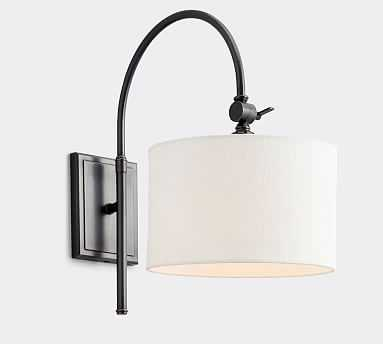 PB Classic Linen Drum Shade with Bronze Classic Arc Sconce - Pottery Barn