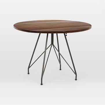 "Jules Drop Leaf Dining Table 42"", Walnut, Antique Bronze - West Elm"
