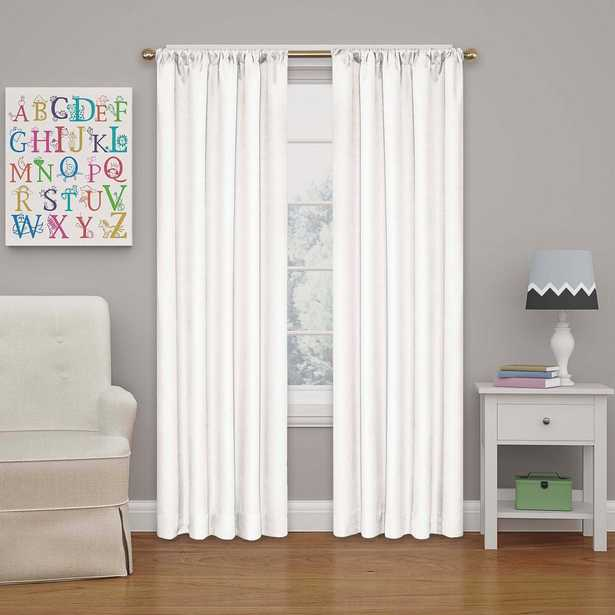 Eclipse Kendall 84 in. L Polyester Curtain in White - Home Depot