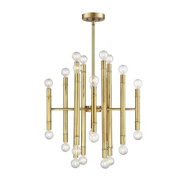 Filament Design 24-Light Natural Brass Chandelier - Home Depot