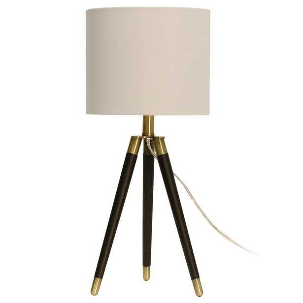 StyleCraft 23.3 in. Brown Table Lamp with White Hardback Fabric Shade - Home Depot