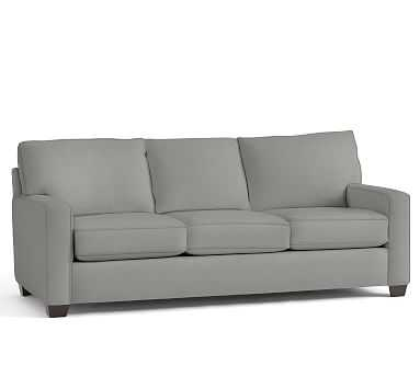 """Buchanan Square Arm Upholstered Grand Sofa 89.5"""", Polyester Wrapped Cushions, Performance Everydaysuede(TM) Metal Gray - Pottery Barn"""