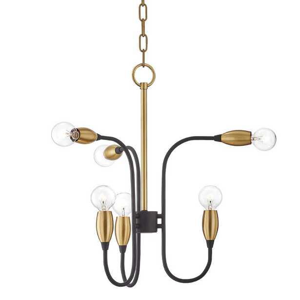 Mitzi by Hudson Valley Lighting Dakota 6-Light Aged Brass/Black Chandelier - Home Depot