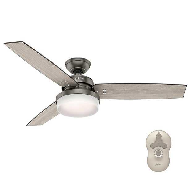 Hunter Sentinel 52 in. LED Indoor Brushed Slate Ceiling Fan with Light Kit and Universal Remote - Home Depot