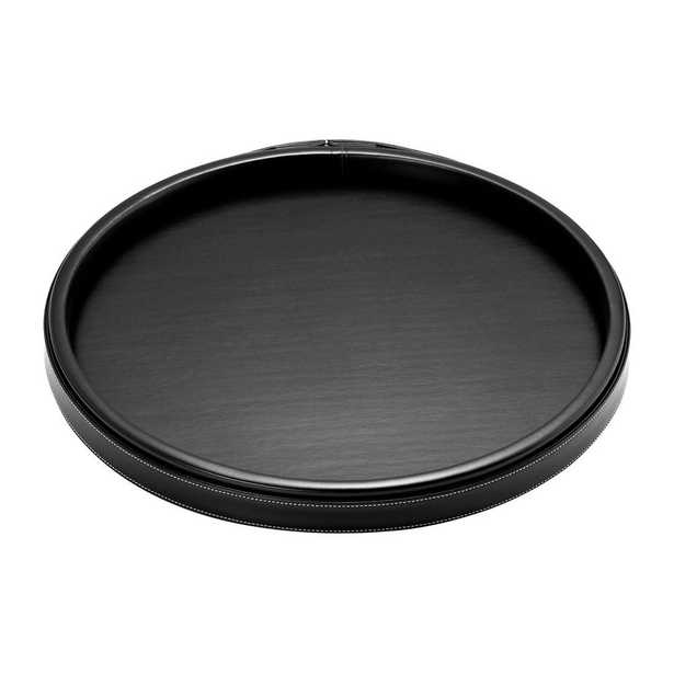 Kraftware 14 in. Stitched Black Round Serving Tray - Home Depot