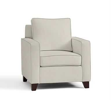 Cameron Square Arm Upholstered Armchair, Polyester Wrapped Cushions, Performance Everydaysuede(TM) Stone - Pottery Barn