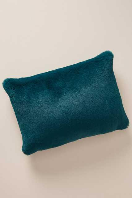Sophie Faux Fur Pillow-Teal - Anthropologie
