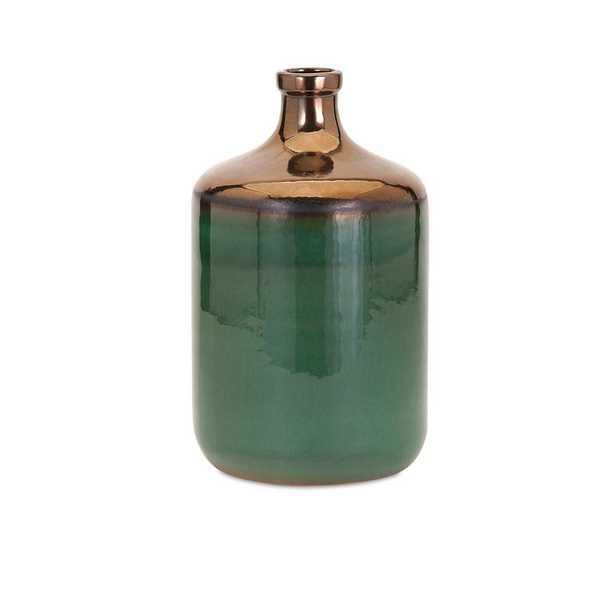 Imax Melenia Medium Green and Bronze Vase - Home Depot