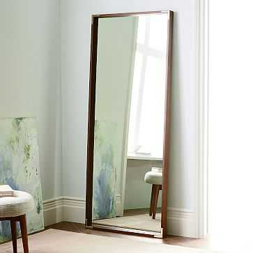 Malone Campaign Floor Mirror, Walnut/Antique Brass - West Elm