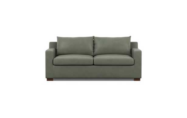 Sloan Leather Sleeper Sleeper Sofa with Grey New City Leather and Oiled Walnut legs - Interior Define