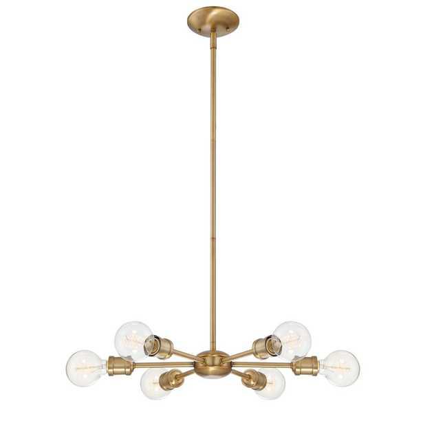 Filament Design 6-Light Natural Brass Chandelier - Home Depot