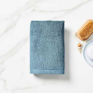 Organic Textured Towel, Hand Towel, Ethereal Blue - West Elm