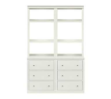Logan Bookcase with Drawers, Antique White - Pottery Barn
