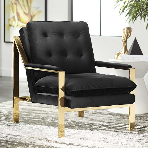 Cypress Black Velvet Tufted Accent Chair - Style # 59N30 - Lamps Plus