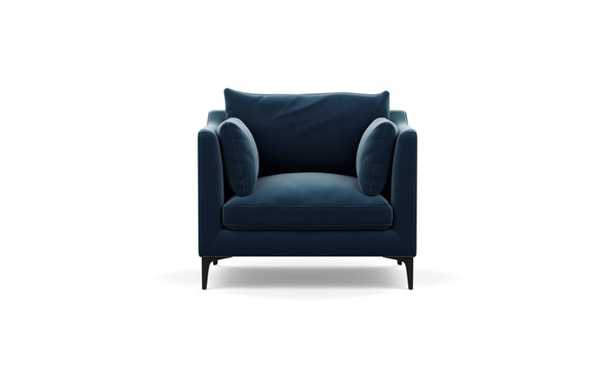 Caitlin by The Everygirl Chairs with Sapphire Fabric and Matte Black legs - Interior Define