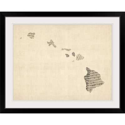 'Old Sheet Music Map of Hawaii' by Michael Tompsett Graphic Art Print - Wayfair