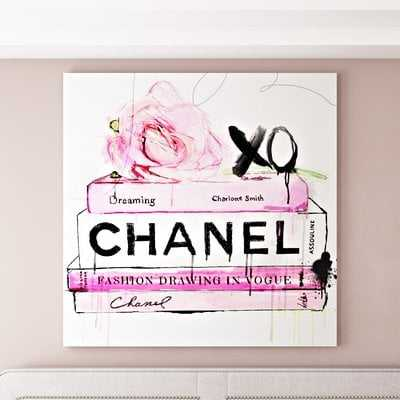 'Dripping Roses and Fashion Books' Graphic Art Print on Wrapped Canvas - Wayfair