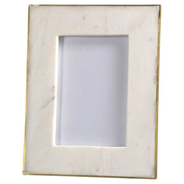 Estelle Modern Classic 6x4 photo Gold Edge White Marble Picture Frame - Small. QTY 6 - Kathy Kuo Home