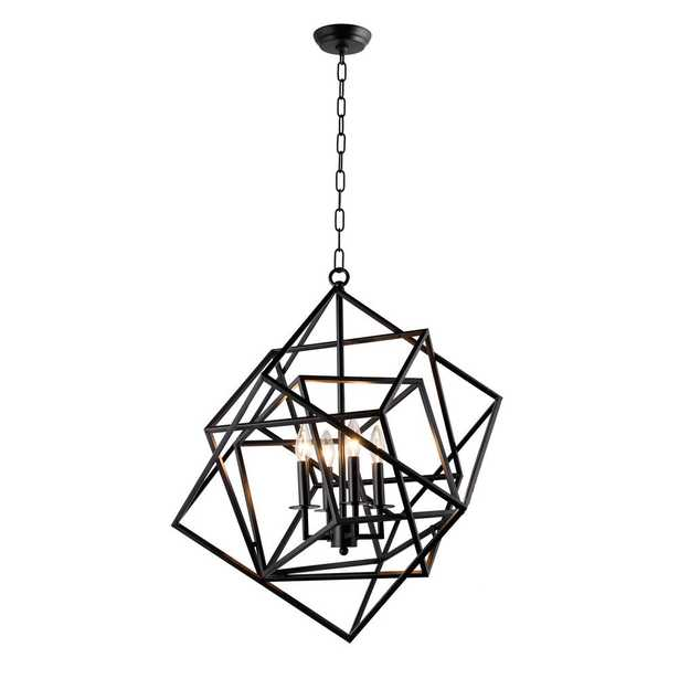 Y Decor Candle-Style 4-Light Matte Black Chandelier - Home Depot