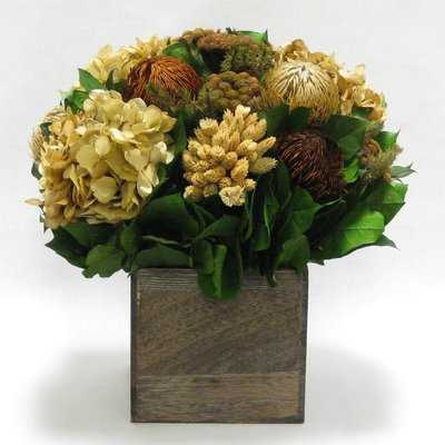 Mixed Floral Centerpiece in Wooden Cube Container - Birch Lane