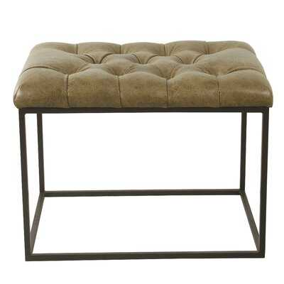 Charlton Home Small Decorative Ottoman - Distressed Brown Faux Leather - Wayfair