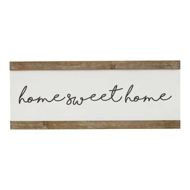 Stratton Home Decor Home Sweet Home Metal and Wood Wall Art, White/ black/ natural wood - Home Depot