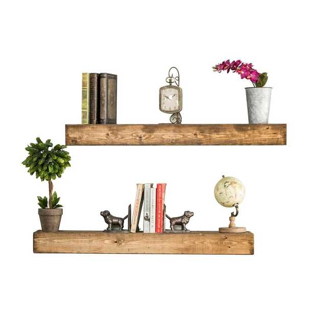 Artisan Haute 6in x 36in x 3.5in Walnut Pine Wood Floating Box Set of Two Decorative Wall Shelves, Brown - Home Depot