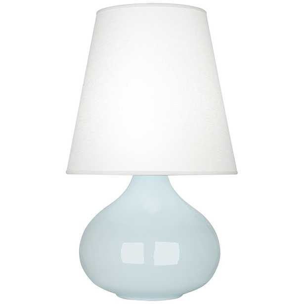 Robert Abbey June Baby Blue Table Lamp w/ Oyster Linen Shade - Style # 58A04 - Lamps Plus