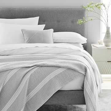 Variegated Running Stripe Blanket, King, Frost Gray - West Elm