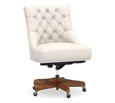Hayes Upholstered Tufted Swivel Desk Chair with Mahogany Frame, Performance Heathered Tweed Ivory - Pottery Barn
