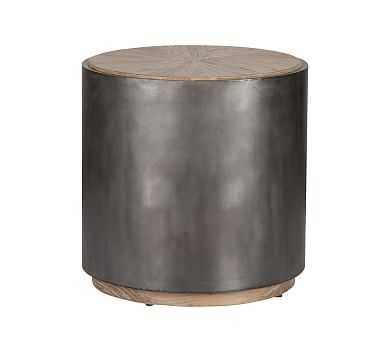 Brockton Metal Wrapped End Table, Natural And Antiqued Black - Pottery Barn