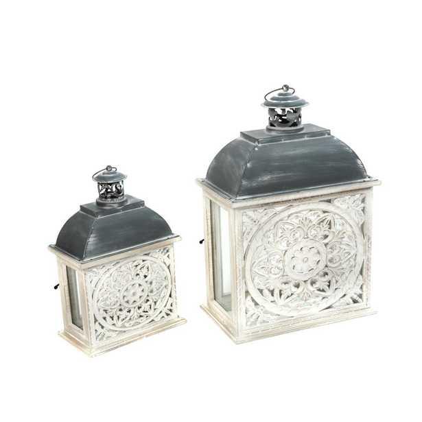Gerson White Nesting Lanterns (Set of 2) - Home Depot