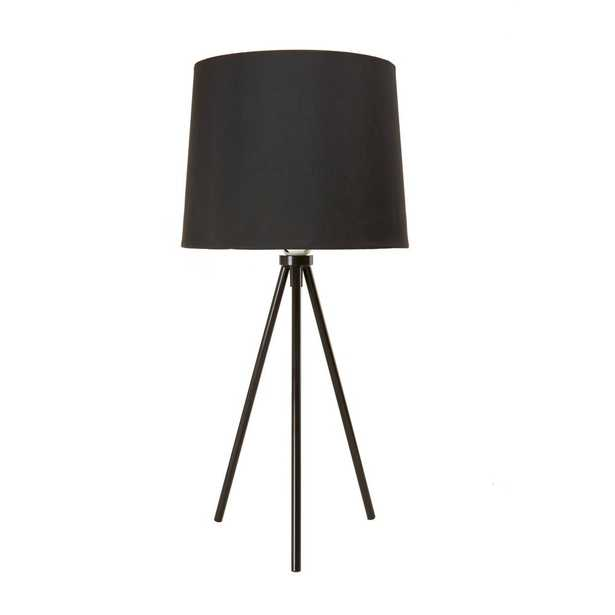 Newhouse Lighting 19.5 in. Black Tripod Table Lamp With Black Lamp Shade and E26 Light Socket - Home Depot