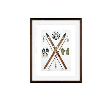 Nordic Ski Art Print Field Guide Designs 16X20 Wood Gallery Espresso Mat - Pottery Barn