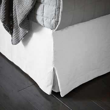 Belgian Linen Bedskirt, Full, White - West Elm