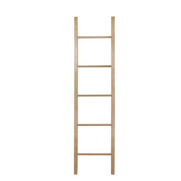 19 in. W x 1.6 in. D Espresso Decorative Ladder with Solid American Maple, Natural Maple - Home Depot