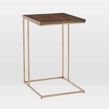 Streamline C-Side Table, Dark Walnut, Light Bronze - West Elm