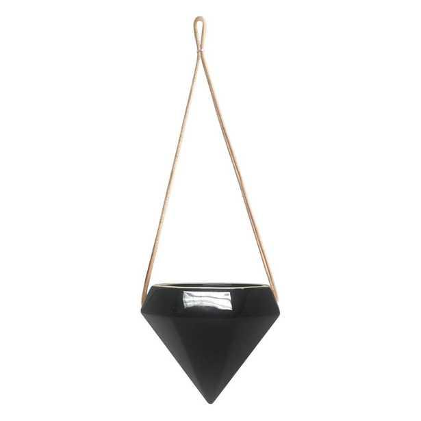 Diamond 4-1/2 in. x 4-1/2 in. Black Ceramic Hanging Planter - Home Depot
