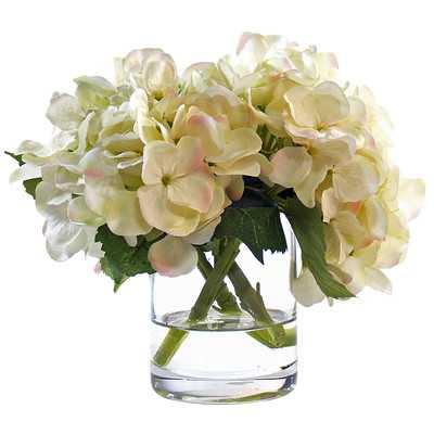 White Hydrangea Floral Arrangement in Glass Vase - Birch Lane