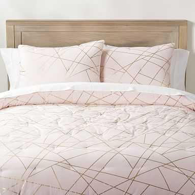 Metallic Printed Comforter, Full/Queen, Powdered Blush/Gold - Pottery Barn Teen