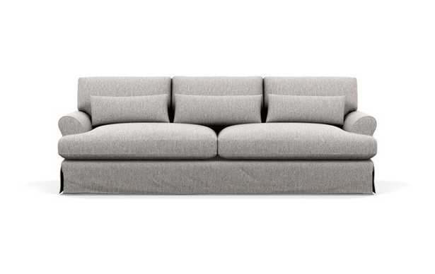 Maxwell Slipcovered Sofa with Brown Earth Fabric and Matte Black with Brass Cap legs - Interior Define