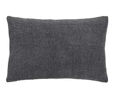 """Dylan Textured Lumbar Pillow Cover, 16"""" x 26"""", Graphite - Pottery Barn"""