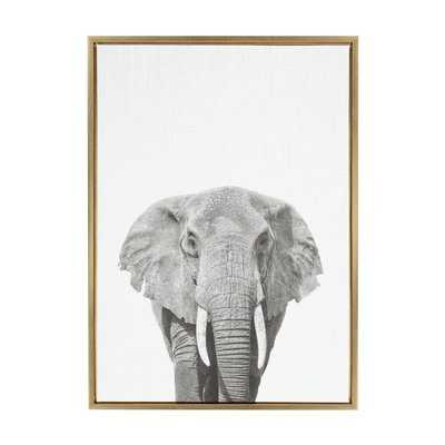 'Elephant Animal Print Black and White Portrait' Framed Photographic Print on Wrapped Canvas - Wayfair