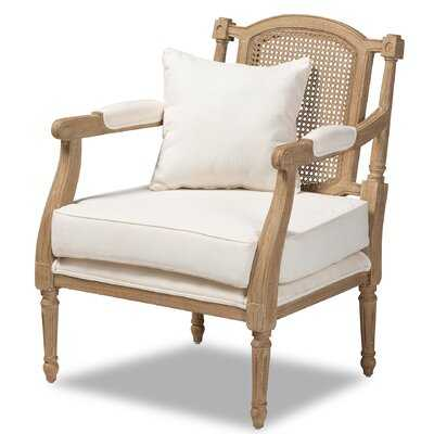 Leonard French Provincial Ivory Fabric Upholstered Whitewashed Wood Armchair - Wayfair